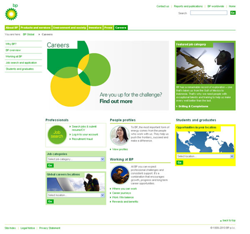 Screenshot of BP website