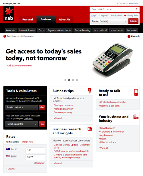 Screenshot of NAB website