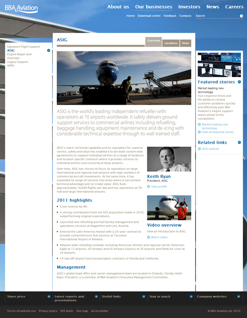 Screenshot of BBA Aviation website