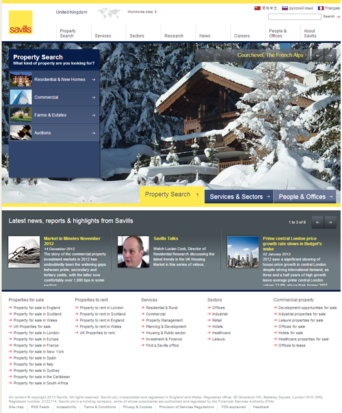 Screenshot of Savills website