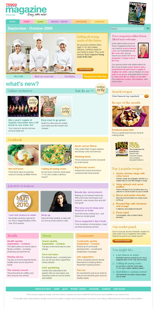 Screenshot of Tesco Magazine – Online edition, November – December 2009 website