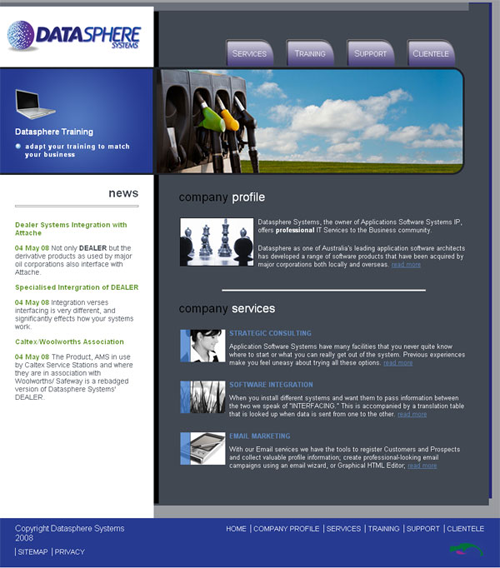 Screenshot of Datasphere Systems website
